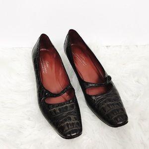 Donald J Pliner Couture Croc Embossed Kitten Heels